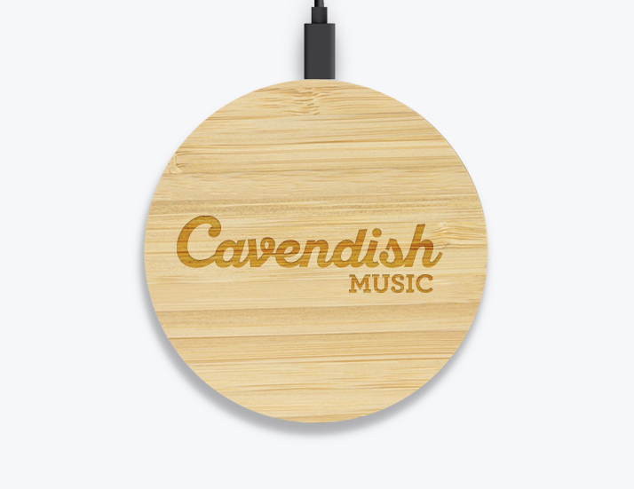 Round Bamboo Wireless Charger Engraved Logo