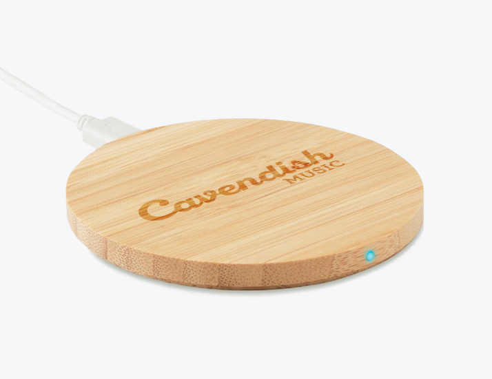 Round Wooden Wireless Charger Perspective