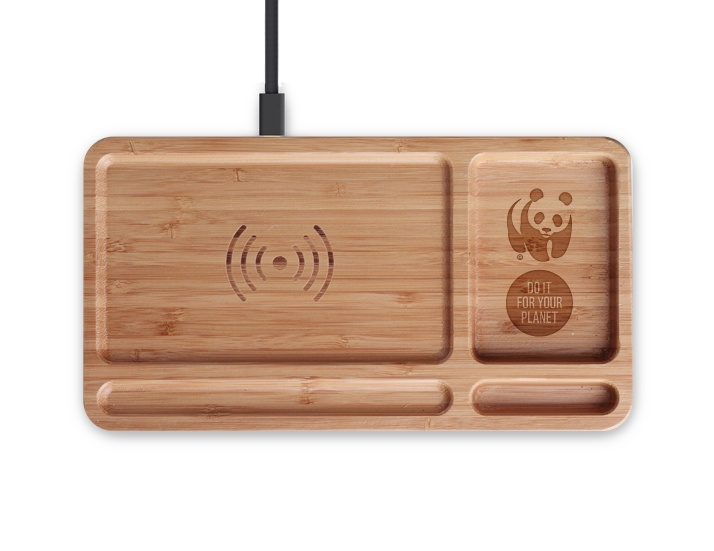 Branded Wireless Bamboo Desk Charger