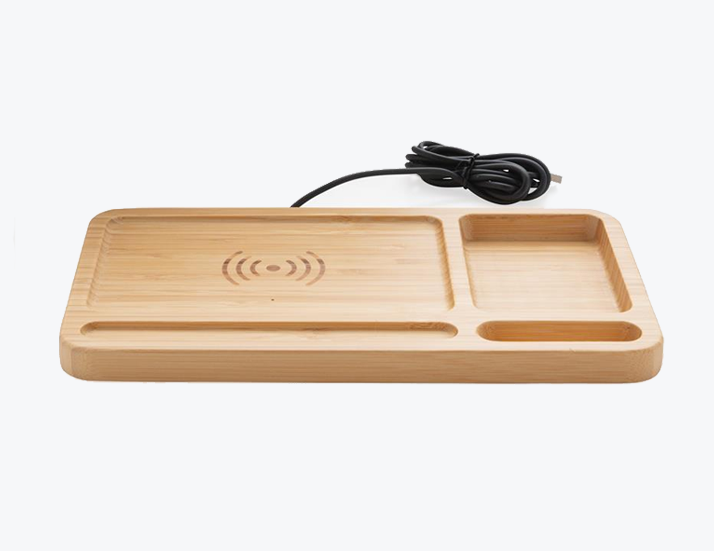 Wireless Bamboo Desk Charger Perspective