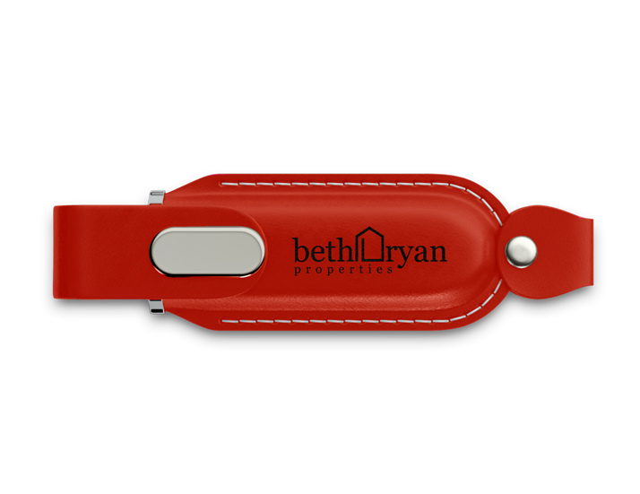 Red Faux Leather USB Drive