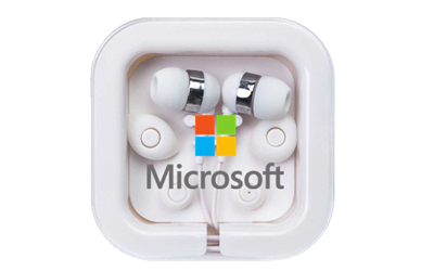 White Basic Promotional Earbuds
